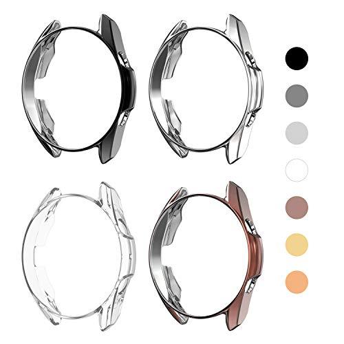 Yolovie (4 Stück) Schutzhülle kompatibel mit Samsung Galaxy Watch 3 41mm, Silikon, robust, R&umschutz, Gesichtsabdeckung, Zubehör (41mm Transparent/ Silberfarben/ Schwarz/ Mystic Bronze)