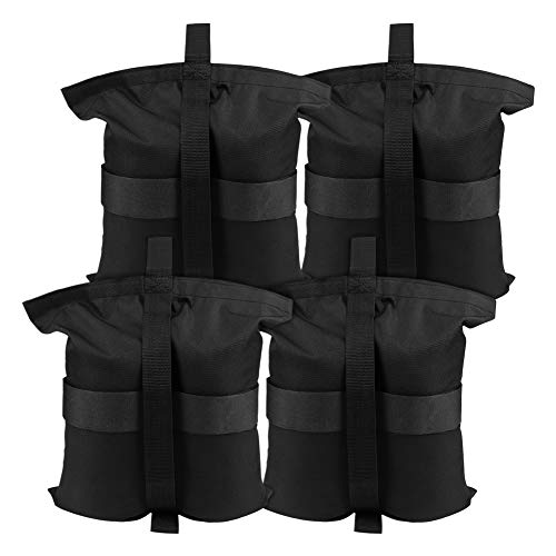 Weight Bags for Pop up Canopy, Sand Bag for Camping Tent,4 Pack Sun Shelter, Patio - Holding up 30lbs~40lbs, 300 cu in Capacity (Black)