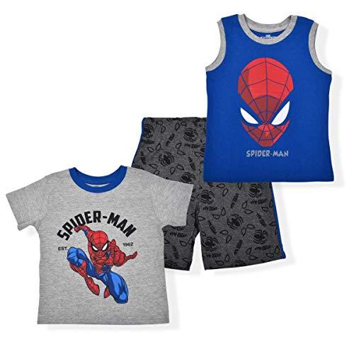 Marvel Spider-Man Est 1962 Boys 3-Piece Playwear Set with Tshirt, Sleeveless Top and Shorts, Grey/Blue