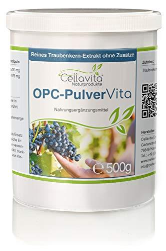 Cellavita OPC Vita Traubenkernextrakt - hochdosierte reine Premium Qualität - ohne Zusatzstoffe (Oligomere Proanthocyanidine) | 500g Pulver