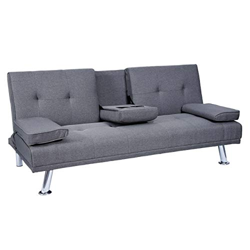 Mendler 3er-Sofa HWC-F60, Couch Schlafsofa Gästebett, Tassenhalter verstellbar 97x166cm ~ Textil, dunkelgrau