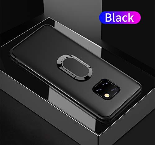 Yobby Coque pour Huawei Mate 20 Pro Mat Noir,Étui 360 Rotation Bague Doigt Anneau Porte Kickstand [Magnétique Support Voiture] Ultra Mince Souple Silicone Antichoc Housse de Protection