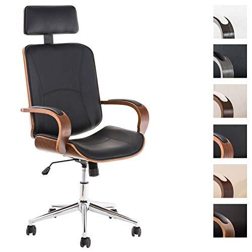CLP Chefsessel Dayton mit Kunstlederbezug I Bürostuhl mit Kopfstütze und Leichtlaufrollen I Höhenverstellbarer Schreibtischstuhl walnuss/schwarz