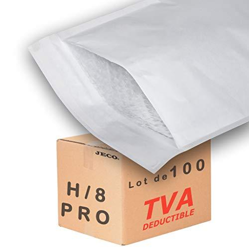 JECO - 100 Enveloppes à bulles d'air pochettes matelassées d'expédition PRO taille H/8 int. A4 270 x 360 mm