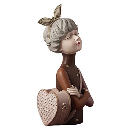 perfk Estatua de Resina Figuras Organizador de Esculturas Jarrones Florales para Niñas Maceta Creativa Contenedor de Plantas Soporte para Pinceles de Maquil - Marrón 21.5x17x38.5cm, Individual