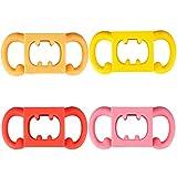 CCCYMM Silikon-Babyflaschengriff, Außendurchmesser 3,5-5cm für Flasche (4 Stück) (rot, pink, orange, gelb)
