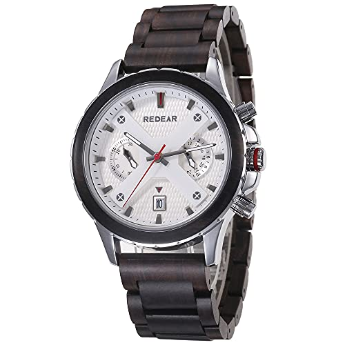 STST Reloj de Madera para Hombre Reloj de Cuarzo analógico Multifuncional con Pantalla de Calendario Impermeable,Blanco