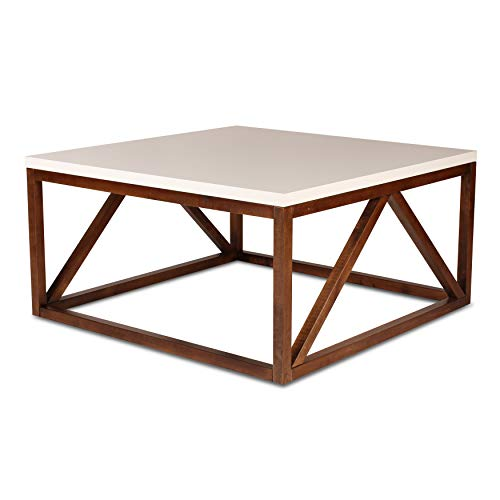 Kate and Laurel Kaya Two-Toned Wood Square Coffee Table with White Top and Walnut Brown Base