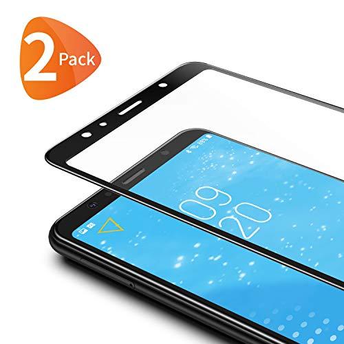 Bewahly Panzerglas Schutzfolie für Samsung Galaxy A7 2018 [2 Stück], 3D Curved Full Cover Panzerglasfolie Ultra Dünn HD Bildschirmschutzfolie 9H Festigkeit Folie für Samsung Galaxy A7 2018 - Schwarz