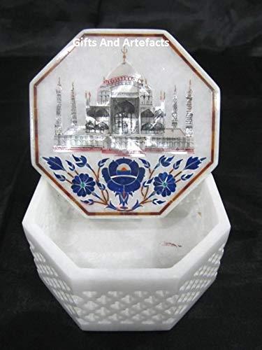 Gifts and Artefakte Schmuckkästchen Marmor, 10 cm, aufwendige Kunst, mit Taj Mahal Nachbildung eingelegter Werk, Heritage Crafts aus Indien