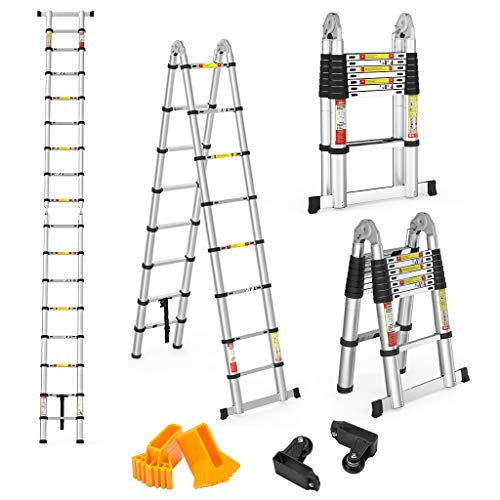 Finether 5 M Échelle Télescopique 2 en 1 Escabeau Pliant Ladder (Multifonctions, Extendable, Aluminium,...