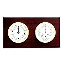 Bey-Berk WS220 Tide Clock and Thermometer with Hygrometer on Mahogany Wood with Brass Bezel. Wall Mounts Vertically or Horizontally, Brown