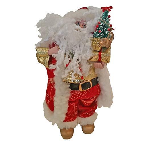 INCARTAMI-ITALIA Babbo Natale Musicale A Carica Manuale Altezza 25 Centimetri Tessuto E PVC