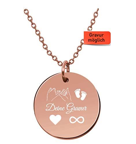 Tu Es Belle Premium Damen Kette mit Gravur - JE T'Aime mit Rose Gold Medaillon, Frauen Halskette mit rundem Anhänger, Plättchenkette, Goldkette, Nameskette| (Rose Gold mit Gravur (Weiße Box))
