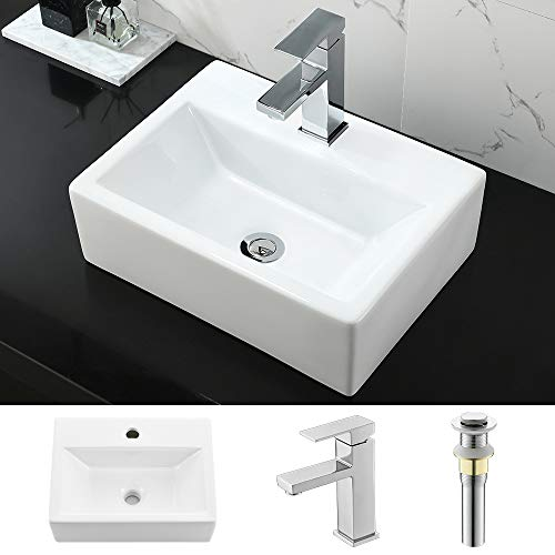 """Rectangle Bathroom Sink and Faucet Combo-WMXQX 16""""x12"""" Above Counter Bathroom Sink White Porcelain Ceramic Vessel Vanity Sink Basin Washing Bowl Set, Faucet Matching Pop Up Drain Combo"""