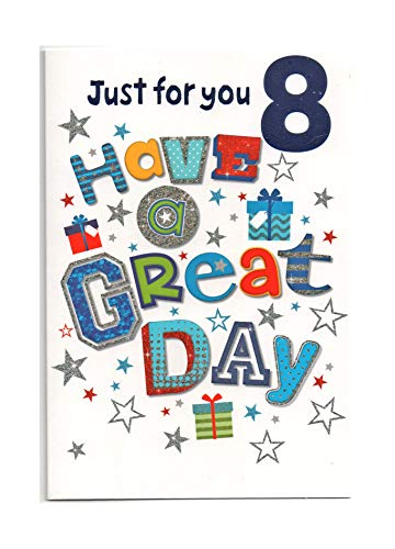 Biglietto Di Auguri Di Compleanno Per Ottavo (8) Anni, Con Scritta In Inglese \