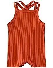 الصيف الطفل الاطفال صبي فتاة القطن مضلع الصلبة رومبير الرضع أكمام بذلة مجموعة (Color : Orange, Kid Size : 12M)