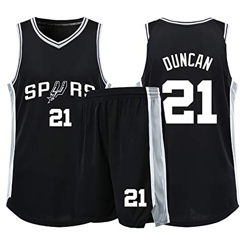 Mens Adult Basketball Jersey Memorial Edition Basketball Uniform Set 21Basketball Shirt Suitable for Spurs Duncan No 2020 Real Hall of Fame Jersey