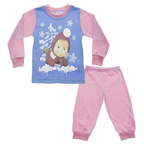 Mascha und der Bär Mädchen Kinder-Pyjama in GRÖSSE 92, 98, 104, 110, 116, 122 rosa/blau, Sweat-Shirt Langarm mit Motiv-Applikation und Langer Hose, Schlaf-Anzug zum Wohlfühlen Größe 122