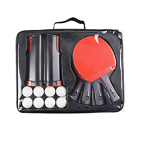 Table Tennis Ping Pong Set Uitgerust met 4 Racket / 8 Balls/Net Post, 7 Ply Pure Woods Made, ergonomisch design handvat, Fun Toys Gifts for Volwassen en kinderen