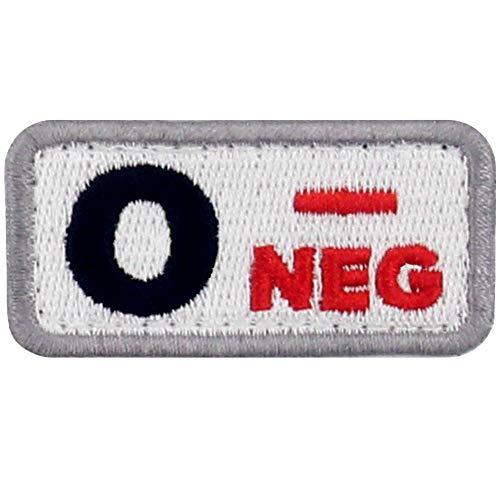 Tipo O negativo Tipo de sangre táctico Broche Bordado de Gancho y Parche de Gancho y bucle de cierre, Rojo y Negro