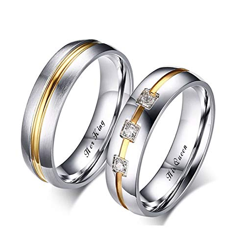 Malinmay Matching Couple Rings, High Polished Two-Tone Ring Engraved Her King and His Queen Stainless Steel Couple Ring Sets for Couples Wedding Promise Anniversary
