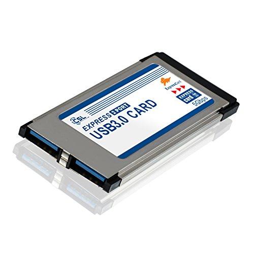 CSL - Scheda Express Card PCMCIA USB 3.0 Super Speed 34mm 2 porte compatibile Windows 10 per portatile notebook