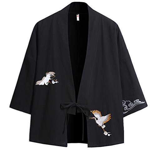 Zhuhaitf Verano Cloak Cárdigan Kimono Japón Capa para Hombres Mujeres Casual Embroidery Kimono Jacket, Loose Talla Grande