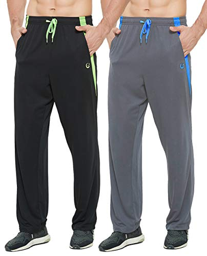 E-SURPA Men's Athletic Pant with Pockets Open Bottom Sweatpants for Men Workout, Exercise, Running (0629-Black, Gray M)