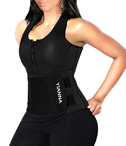 YIANNA Sweat Sauna Suit for Women Neoprene Waist Trainer Vest Zipper Body Shaper with Adjustable Tank Top, YA8012-Black-New-5XL