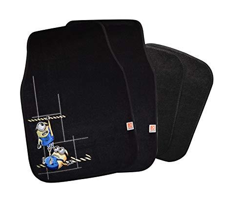 Minions Auto Fußmatten Set bestickt 4-teilig, Auto Teppich universal, Automatte rutschfest, Stoffmatten passend für fast alle Fahrzeugtypen