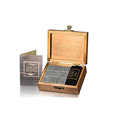 Whiskey Stones Gift Set - 9 Granite Chilling Whisky Rocks - no water dilution - stored in Wooden Premium Box – Best quality Bar Accessories for Any Beverages by Lord's Rocks