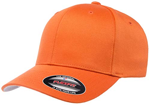 Flexfit Men's Athletic Baseball Fitted Cap, Orange, S/M