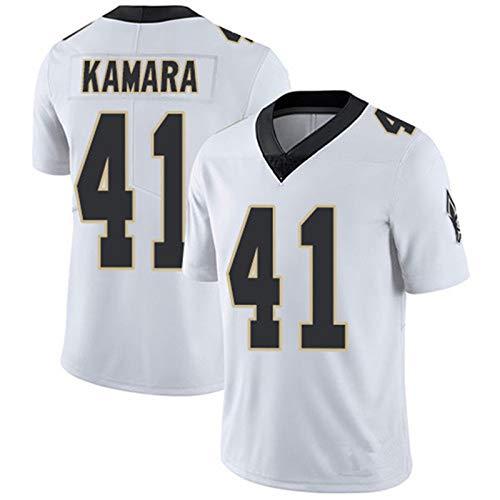 Kinder American Football-Trikots für Jungen, Brees 9 Thomas 13 Kamara 41fans Rugby Uniform T-Shirts, 19 Saison Editon T-Shirt Sport Top Short Sleeve White 41-S