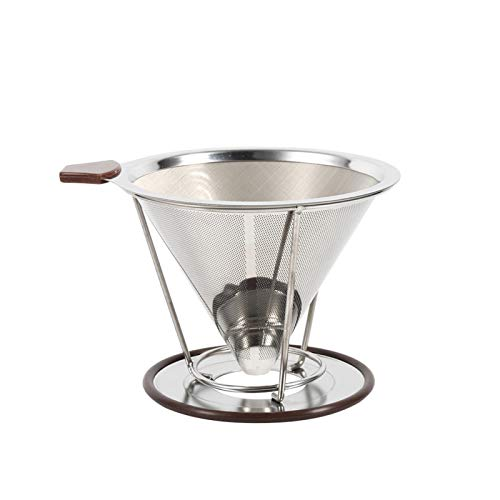 Socobeta Filtro de café cónico portátil Resistente al Calor Filtro de café Filtro de café de Acero Inoxidable Cocina casera