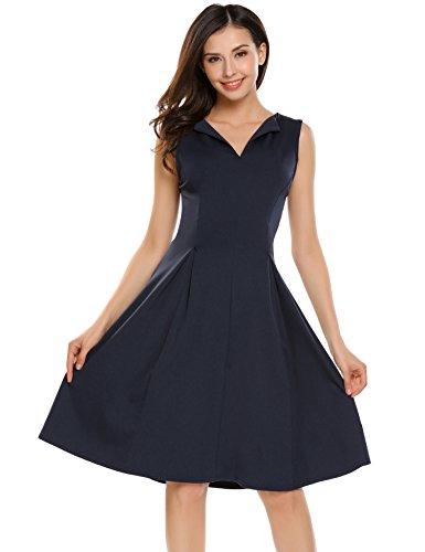Beyove Damen Ärmellos Skaterkleid Ballkleid Festliches Kleid Cocktailkleid Party Business Kleid A-Linie mit Gürtel (EU 40(Herstellergröße: L), C+Dunkelblau)
