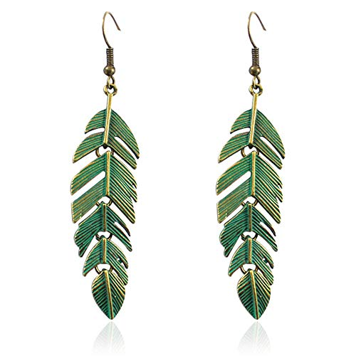 D.Rosse Handmade Boho Vintage Green Bronze Lightweight Statement Leaf Earrings with Detailed Texture Drop Dangle Earring for Women (Green)