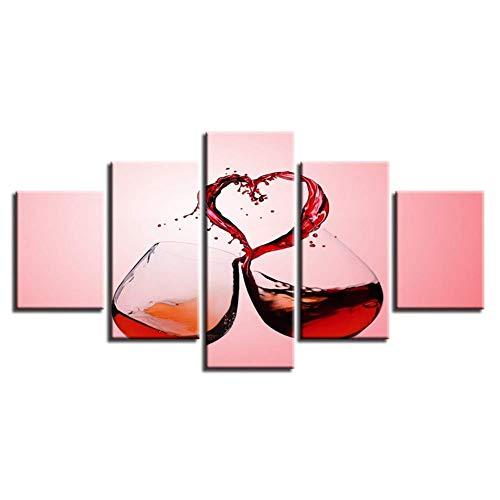 mwioq 5 imágenes consecutivas Impresas en HD decoración del hogar Moderna Pintura en Lienzo 5 Piezas Copas de Vino Tinto Arte de la Pared póster Modular imágenes Sala de Estar
