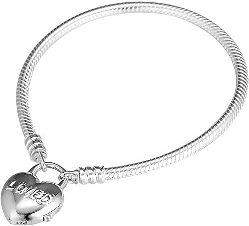 Regalo de Día de San Valentín Usted es amado Corazón Pulsera de candado 925 plateado bricolaje Fits para Pandora Pulseras originales Charm Joyería de moda-23 cm