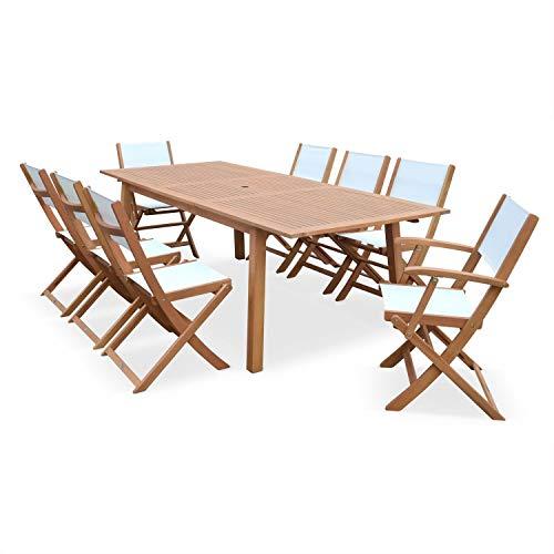 Conjunto de Mesa y sillas de jardín de Madera y textileno Blanco, 8 plazas, Extensible 180/240 cm