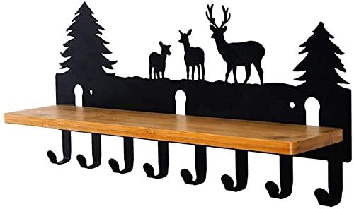 HJW Praktische opbergrek Opknoping Entryway Plank met 8 Haken Farm Style, Home Storage Haken Kapstok voor Kleding Hoed Bag Sleutelhanger 1Huiyang-01020, a
