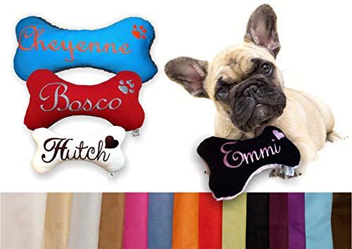 LunaChild Cojín de juguete para perro hecho a mano Hueso de perro Quitescher/Sonajero XXS XS S M L XL XXL Nombre bordado personalizado imitación de gamuza
