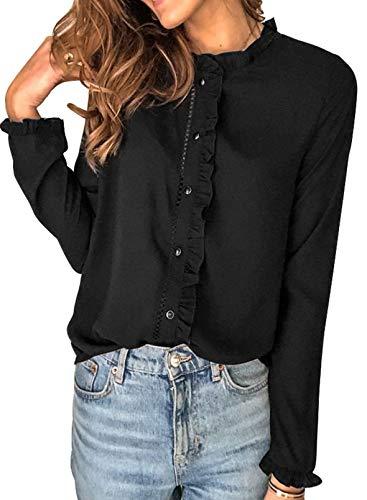 CORAFRITZ Camisa de manga larga para mujer, estilo informal, con volantes, con botones, color sólido, holgada, para mujer