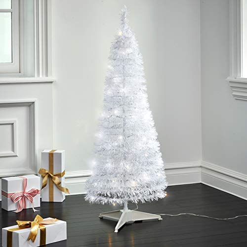 Pop Up Christmas Tree with Lights - 4 Ft, White Tinsel, Collapsible for Easy Storage, 100 LED Lights Included, Slim 17 Inch Diameter, Prelit Modern Style Artificial Pencil Tree