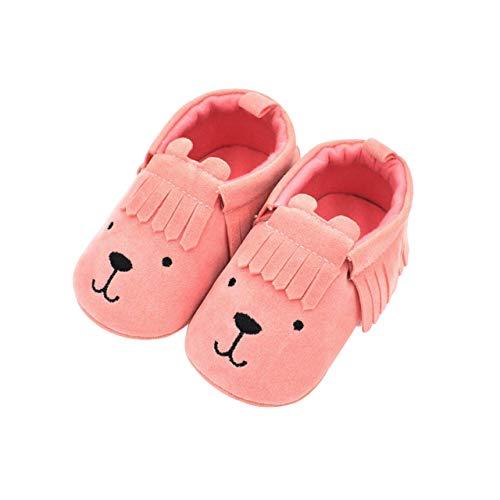 DEBAIJIA Zapatos de Bebé para 6-18 Meses Unisex Niños Niñas Primeros Pasos Pantuflas Infantiles Moda Casual Antideslizante Suave Suela sin Cordones Zapatos de Casa Zapatillas de Cuero con Borla