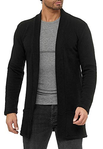 Red Bridge Herren Cardigan Jacke Sweat-Jacke Sakko Long Cut Schwarz S
