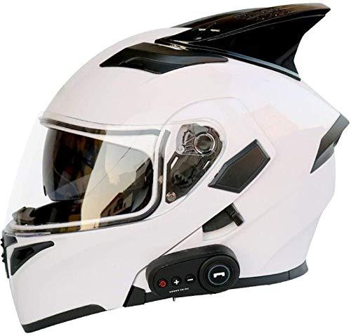 EBAYIN Cascos Moto Bluetooth, Cascos Integrales Modulares Abatibles de Doble Visor, Casco Aprobado por Dot ECE, Hombres Mujeres Casco Abatible Frontal Incorporado FM,C-XXL=(63~64cm)