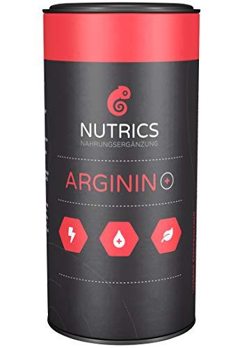 Nutrics Arginin + | 100% Vegan | 120 Kapseln | Hochdosiert | Aminosäuren hergestellt in Deutschland | Sportlerpackung