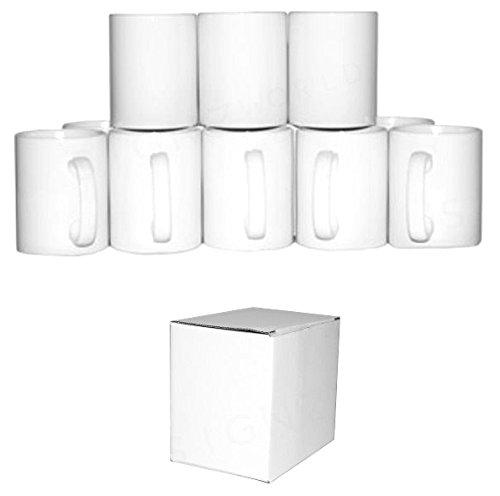 Signzworld 11 oz Large Double Layer Coated Sublimation Mug Heat Press - White (Pack of 36)
