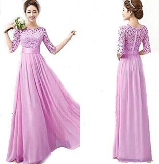 Light Purple Ladies Women's Fashion Half Sleeves Long Dress Club Wear Night Party Dress